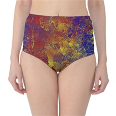 Abstract in Gold, Blue, and Red High-Waist Bikini Bottoms