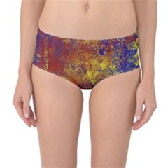 Abstract in Gold, Blue, and Red Mid-Waist Bikini Bottoms