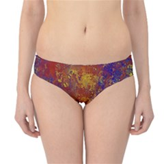 Abstract In Gold, Blue, And Red Hipster Bikini Bottoms
