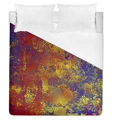 Abstract In Gold, Blue, And Red Duvet Cover Single Side (full/queen Size)