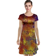 Abstract in Gold, Blue, and Red Cap Sleeve Nightdresses