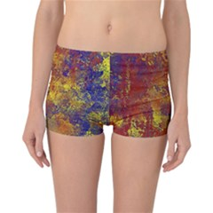 Abstract In Gold, Blue, And Red Reversible Boyleg Bikini Bottoms
