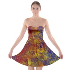 Abstract In Gold, Blue, And Red Strapless Bra Top Dress