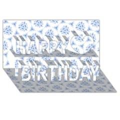 Sweet Doodle Pattern Blue Happy Birthday 3D Greeting Card (8x4)