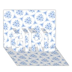 Sweet Doodle Pattern Blue Girl 3d Greeting Card (7x5)