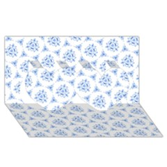 Sweet Doodle Pattern Blue Twin Hearts 3D Greeting Card (8x4)