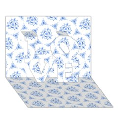 Sweet Doodle Pattern Blue LOVE 3D Greeting Card (7x5)