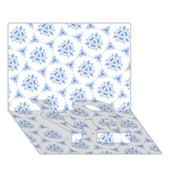 Sweet Doodle Pattern Blue LOVE Bottom 3D Greeting Card (7x5)