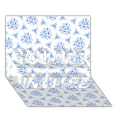 Sweet Doodle Pattern Blue You Are Invited 3d Greeting Card (7x5)
