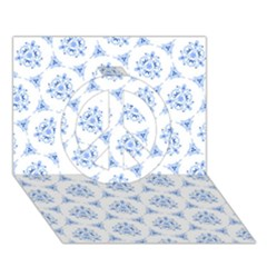 Sweet Doodle Pattern Blue Peace Sign 3D Greeting Card (7x5)