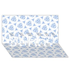 Sweet Doodle Pattern Blue SORRY 3D Greeting Card (8x4)