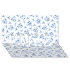 Sweet Doodle Pattern Blue Hugs 3d Greeting Card (8x4)