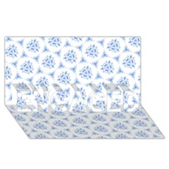 Sweet Doodle Pattern Blue ENGAGED 3D Greeting Card (8x4)