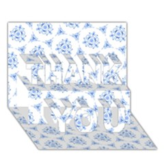 Sweet Doodle Pattern Blue THANK YOU 3D Greeting Card (7x5)