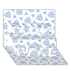 Sweet Doodle Pattern Blue Take Care 3d Greeting Card (7x5)