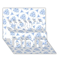 Sweet Doodle Pattern Blue You Did It 3d Greeting Card (7x5)