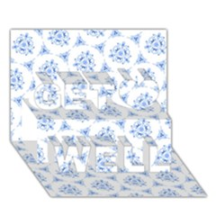 Sweet Doodle Pattern Blue Get Well 3D Greeting Card (7x5)