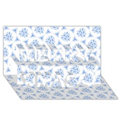 Sweet Doodle Pattern Blue Merry Xmas 3D Greeting Card (8x4)