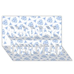Sweet Doodle Pattern Blue Happy New Year 3d Greeting Card (8x4)