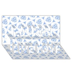 Sweet Doodle Pattern Blue Laugh Live Love 3d Greeting Card (8x4)