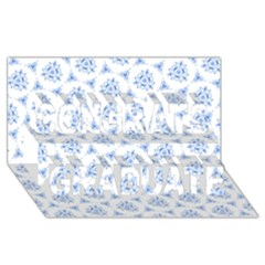 Sweet Doodle Pattern Blue Congrats Graduate 3d Greeting Card (8x4)