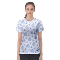 Sweet Doodle Pattern Blue Women s Sport Mesh Tees