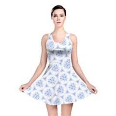 Sweet Doodle Pattern Blue Reversible Skater Dresses