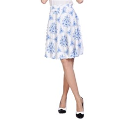 Sweet Doodle Pattern Blue A Line Skirts