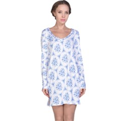 Sweet Doodle Pattern Blue Long Sleeve Nightdresses