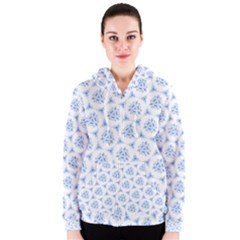 Sweet Doodle Pattern Blue Women s Zipper Hoodies