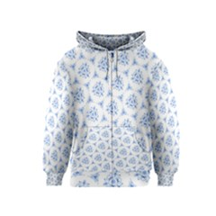 Sweet Doodle Pattern Blue Kids Zipper Hoodies