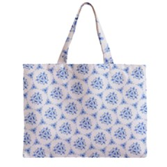 Sweet Doodle Pattern Blue Zipper Tiny Tote Bags