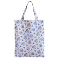Sweet Doodle Pattern Blue Zipper Classic Tote Bags