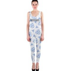 Sweet Doodle Pattern Blue OnePiece Catsuits