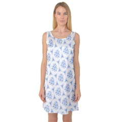 Sweet Doodle Pattern Blue Sleeveless Satin Nightdresses