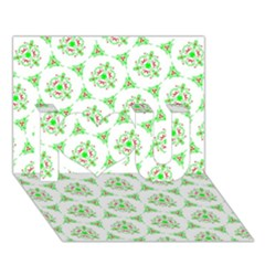 Sweet Doodle Pattern Green I Love You 3D Greeting Card (7x5)