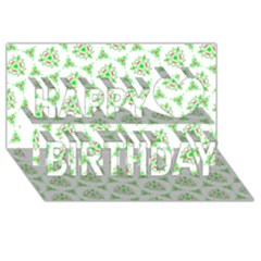 Sweet Doodle Pattern Green Happy Birthday 3D Greeting Card (8x4)