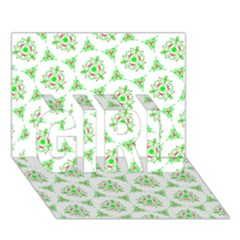 Sweet Doodle Pattern Green Girl 3d Greeting Card (7x5)
