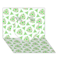 Sweet Doodle Pattern Green Heart 3D Greeting Card (7x5)