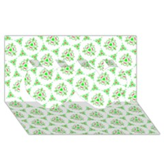 Sweet Doodle Pattern Green Twin Hearts 3D Greeting Card (8x4)