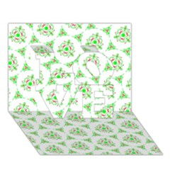 Sweet Doodle Pattern Green Love 3d Greeting Card (7x5)