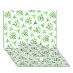Sweet Doodle Pattern Green Circle Bottom 3d Greeting Card (7x5)