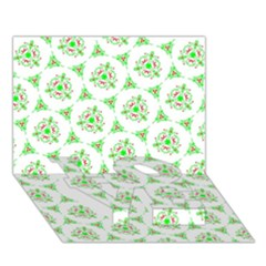 Sweet Doodle Pattern Green Love Bottom 3d Greeting Card (7x5)
