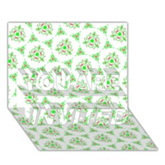 Sweet Doodle Pattern Green YOU ARE INVITED 3D Greeting Card (7x5)