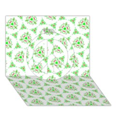 Sweet Doodle Pattern Green Peace Sign 3d Greeting Card (7x5)