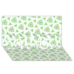 Sweet Doodle Pattern Green #1 Mom 3d Greeting Cards (8x4)