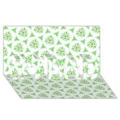 Sweet Doodle Pattern Green #1 Dad 3d Greeting Card (8x4)