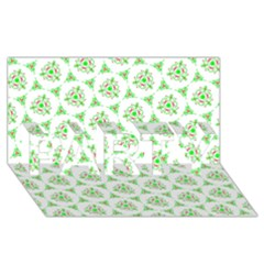 Sweet Doodle Pattern Green PARTY 3D Greeting Card (8x4)