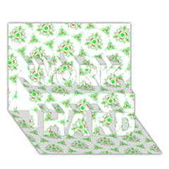 Sweet Doodle Pattern Green Work Hard 3d Greeting Card (7x5)