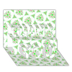 Sweet Doodle Pattern Green THANK YOU 3D Greeting Card (7x5)